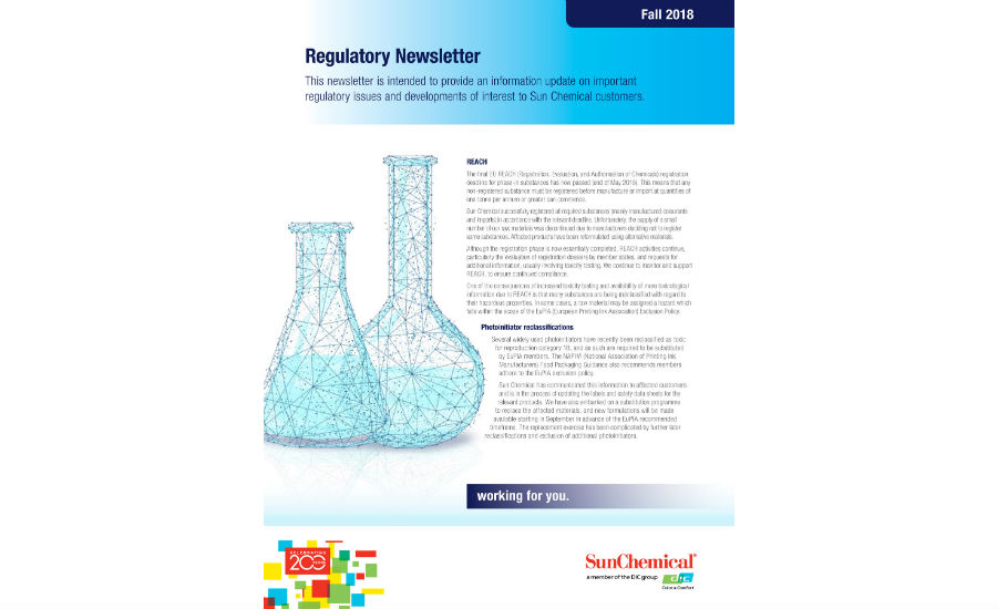 Sun Chemical Regulatory Newsletter 2018