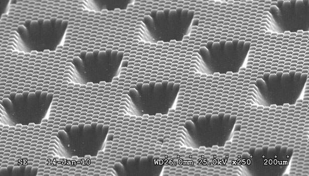 Magnified view of Digi Cap screening, 5 x 10 microns in size