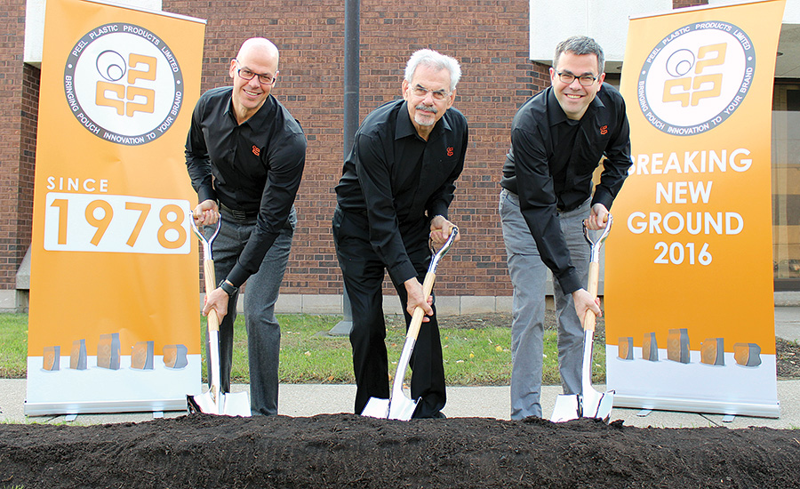 Peel Plastics' employees break ground on the company's new facility