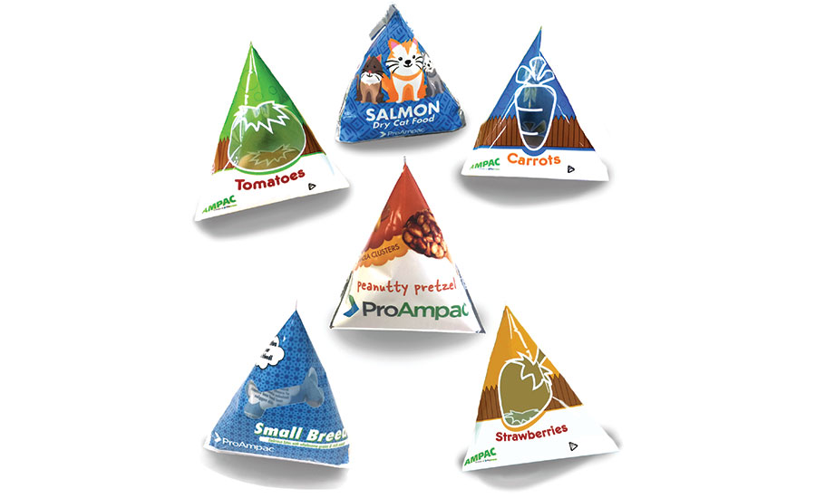 ProAmpac's E-Z SnackPak is a tetrahedron-shaped pouch that transforms into a tray made for the single-serve food market