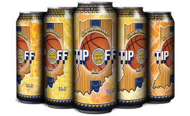 Tip Off Ale features a shrink sleeve that displays the Pacers colors and basketball themes