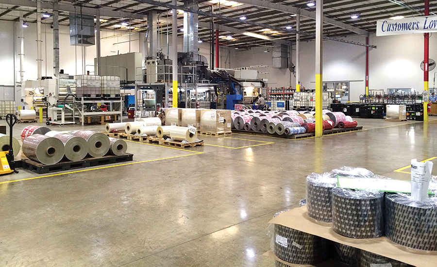 Poly Print stocks over 1 million pounds of raw material on the floor of its Tucson, Arizona, facility