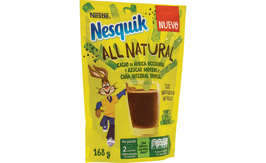 Nesquik All Natural powder in a recyclable paper pouch