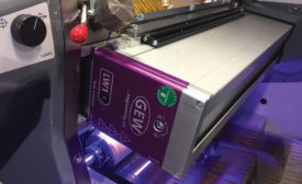 GEW UV LED curing system on a narrow web press