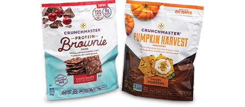 Crunchmaster Protein Brownie & PUMPKIN HARVEST Pouches by PPC Flexible Packaging