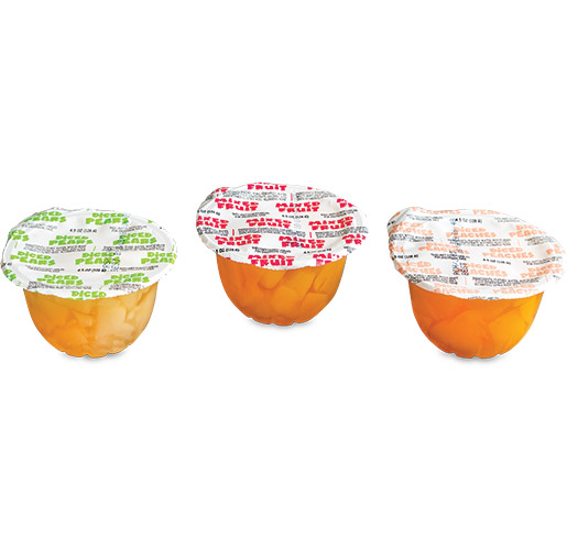 Diced Fruit Cup with Flexo Printed Retort Lidding/Next Generation Sealant Film by Printpack