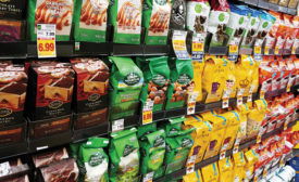 coffee packaged in brightly colored pouches