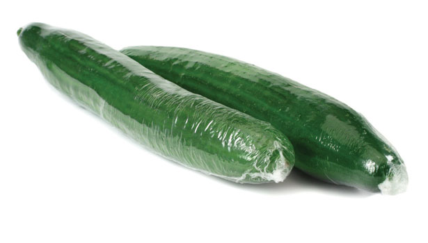 shrink wrapped cucumbers