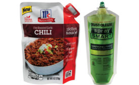 The McCormick Chili Sauce pouch and Rust-Oleum Marking Paint pouch are two examples of innovative flexible packaging