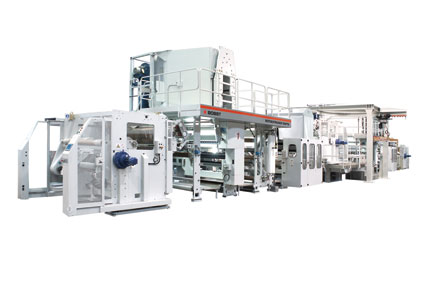 The Bobst  tandem extrusion coating line